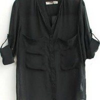Black V Neck Roll Long Sleeve Two Pockets Chiffon Blouse S02