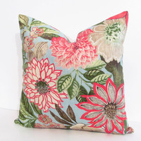 Designer Pillow Decorative Linen Pillow Big Floral Pattern