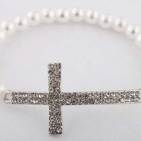 Silver with White Pearl Beaded Iced Out Cross Bracelet Shamballah