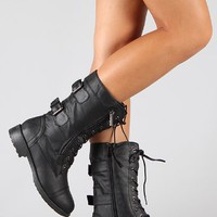 Pack 72 Womens Military Lace Up Buckle Combat Boots Black