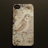 Hard iPhone Case Vintage Bird Postcard Custom by CreateItYourWay