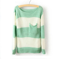 Green White Striped Long Sleeve Pullover Sweater