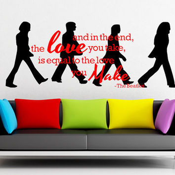 Wall decal the beatles walking abbey road from for Beatles abbey road wall mural