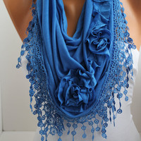 Cobalt Blue Rose Cotton Shawl/ Scarf - Headband -Cowl with Lace Edge