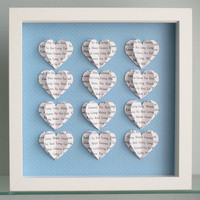 Personalised Text Heart Frame - 3D Hearts - Wedding Valentine Anniversary Gift - Song Lyric Word Wall Art