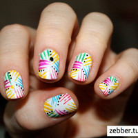 90's Rainforest Rave Nail Art  Set of 24 False by ZebberCollective