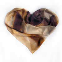 Hand painted silk scarf  Sands and Chocolate scarf-Heart silk scarf-Painting on silk by Dimo Balev OOAK