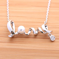 LOVE necklace with swarovski pearl necklace, 2colors | girlsluv.it
