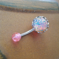 Pink Fire Opal Belly Button Ring Stud- Navel Piercing Jewelry Stone Bar Barbell