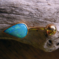Marine Blue Australian Opal / 18K Gold Belly Ring