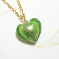 Green Heart Pendant Necklace with Gold Chain for Valentines Day