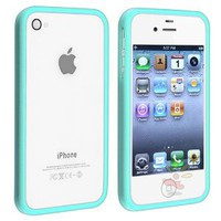 Shiny Blue TPU Rubber Bumper Case for Apple iPhone 4 / 4S