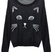 Black Embroidered Cat Round Neck Loose Sweater S018