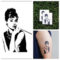 Audrey Hepburn - temporary tattoo (Set of 2)