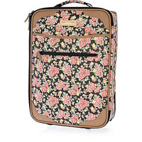 Black floral print wheelie suitcase