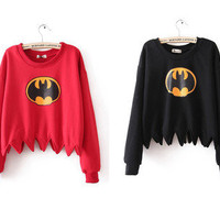 New Womens Ladies Girl Cute Batman Comic Unique Shirt Top Blouse Hoodie Sweater