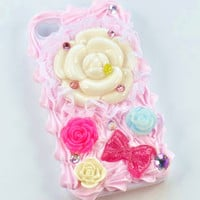 iPhone 4 and iPhone 4S Pink Whipped Cream Roses and Lace Kawaii bling case