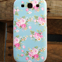 Samsung Galaxy S3 i9300 Blue Floral Case