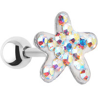16 Gauge Aurora Crystal Ferido Starfish Cartilage Tragus Earring | Body Candy Body Jewelry