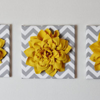"THREE - Wall Flower -Mellow Yellow Dahlia on Gray and White Chevron 12 x12"" Canvas Wall Art- 3D Felt Flower"
