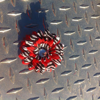 Zebra Print And Red Gerber flower hair clip by RuvalcababMade