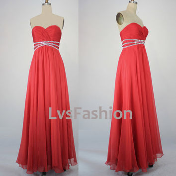 Strapless Sweetheart With Beading Black Chiffon Prom by LvsFashion