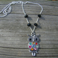 colorful owl  silver pendant necklace by MamasNestDesigns on Etsy
