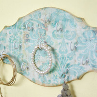 Key Holder, Jewelry Display With Hooks, Light Blue Damask Print