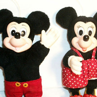 Valentines Day Couple, RARE Disney Mickey Mouse and Minnie Vintage 1950s Hanging Stuffed Characters Traditional  Disneyana by TKSPRINGTHINGS