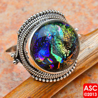 DICHROIC GLASS 925 STERLING SILVER RING SIZE 8 1/4 JEWELRY