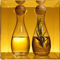 Oval Oil/Vinegar Bottles with Oak Stopper (set of 2 bottles)