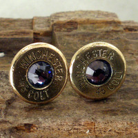 Colt 45  Purple Velvet  Ultra Thin Bullet Earrings by ShellsNStuff