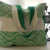 Tote Green White Shoulder Bag by PeetSwea on Etsy