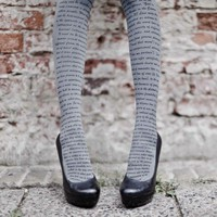 Love Text Print Tights Grey &amp; Black- Designer Tights
