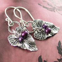 Grape Leaf Earrings Purple Pearl Silver Leaf Earrings Sterling Silver Antique Silver Brass Leaf Dangle Earrings