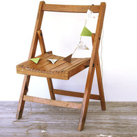 Vintage Wood Childs Folding Chair