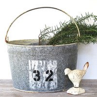 Vintage Grey Metal Bucket - Cottage - Prairie - Farmhouse - Display