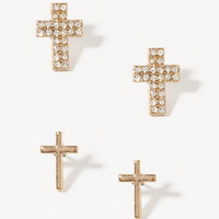 Rhinestoned Cross Earring Set
