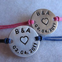 Couples Simply Say It bracelets (set of 2) - personlized with your special request