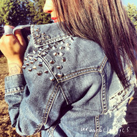 Distressed Spiked Cross Jacket by UrbanEclectics on Etsy