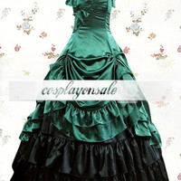 Blackish Green And Black Sleeveless Bow Multi-layer Pleated Satin Classic Lolita Dress [T110150] - $73.00 : Cosplay, Cosplay Costumes, Lolita Dress, Sweet Lolita