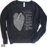 Womens ANATOMICAL HEART TriBlend Pullover american by ZenThreads