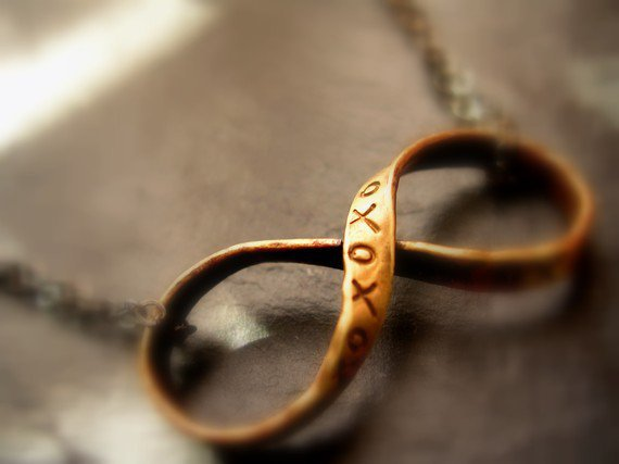 Infinity Necklace xoxo Brass Ribbon Infinity by NatsukoJewelry