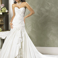 Mermaid / Trumpet Strapless Sweetheart Dropped Satin Taffeta Wedding Dress - WD2213