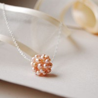 Pink Pearl Necklace with Fresh Water Pearl Cluster  by LuciaStofej