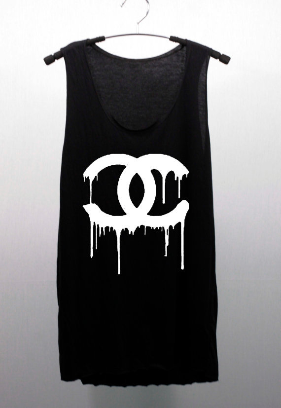 Chanel Dripping Coco Chanel Black Or From Cafetshirt On Etsy