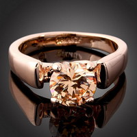 18k GP Rose Gold Citrine Ring Size .. on Luulla