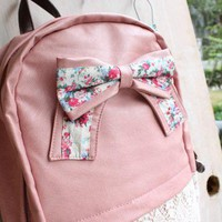 Fashion Pink Backpack with Red Floral Bow &amp;Lace