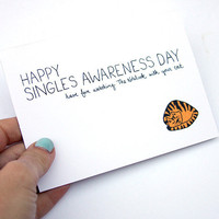 $4.00 Anti Valentine Card Single Awareness Day Card Funny by JulieAnnArt