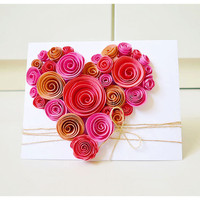 Heart-Shaped Swirl Flower Card | Luulla